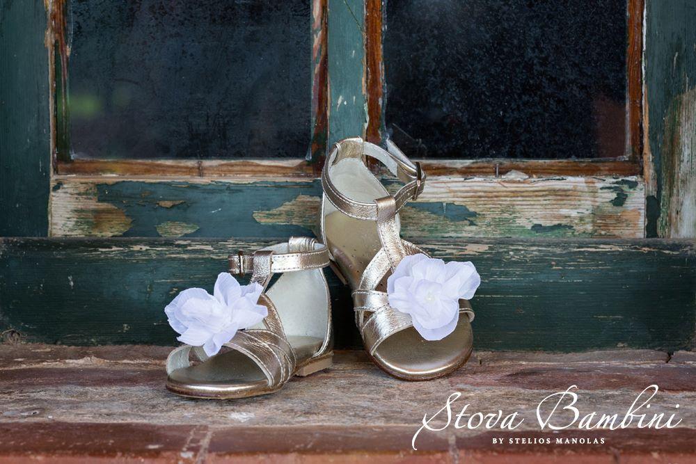 cb91ab30505 ST19-16 Βαπτιστικά παπούτσια πέδιλο χρυσό λευκό λουλούδι | Βάπτιση ...